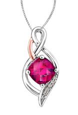 White and Rose Gold Rhodalite Garnet and Diamond Pendant