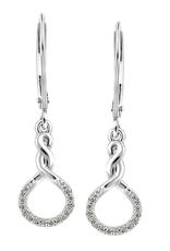 10K White Gold (0.085ct) Diamond Infinity Dangle Drop Earrings