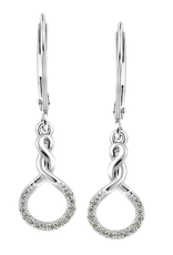 White Gold Infinity (0.085ct) Diamond Geometric Dangle Earrings