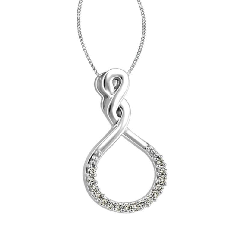 White Gold Infinity Geometric Diamond Pendant