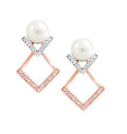 Rose and White (0.18ct) Gold Pearl and Diamond Earrings