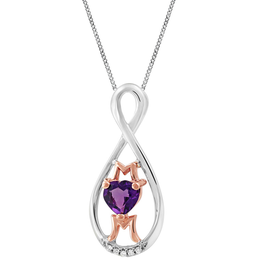 Sterling Silver / 10K Rose Gold Amethyst and Diamond MOM Pendant