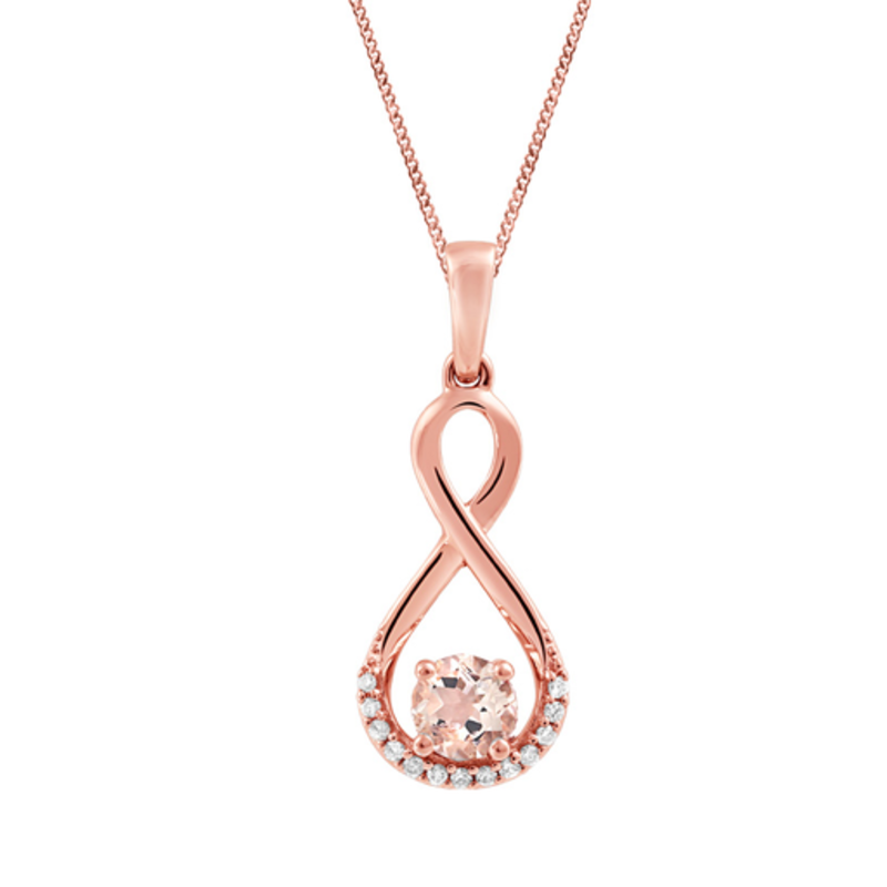 Rose Gold Diamond Morganite Infinity Pendant