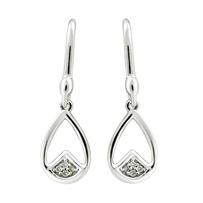 White Gold (0.04ct) Diamond Dangle Earrings