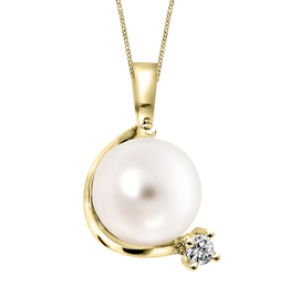 Yellow Gold (0.03ct) Pearl and Diamond Pendant