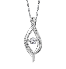 White Gold (0.17cttw) Dancing Canadian Diamond Pendant