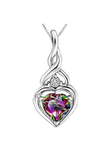 White Gold Mystic Topaz and Canadian Diamond Pendant
