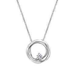 White Gold Canadian Diamond Geometric Pendant (0.04ct)