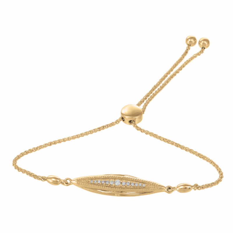 10K Yellow Gold (0.08ct) Canadian Diamond Bolo Bracelet