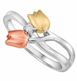 Fire and Ice Tricolor Gold Canadian Diamond Tulips Ring