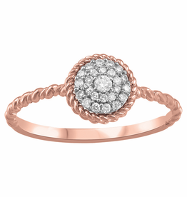 Rose Gold Cluster (0.143ct) Diamond and Canadian Diamond Ring
