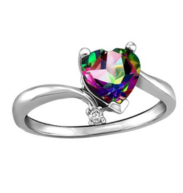 White Gold Mystic Topaz & Diamond Ladies Ring