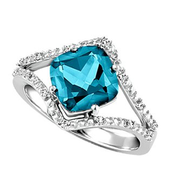 White Gold Teal Topaz Diamond Ring