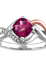 White and Rose Gold Rhodalite Garnet Diamond Ring