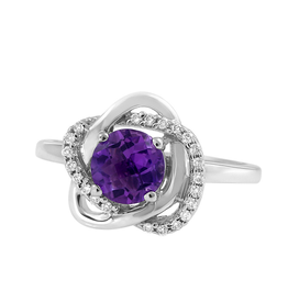 White Gold Floral Diamond Halo Amethyst Ring