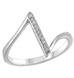 10K White Gold (0.045ct) Diamond Geometric Ring