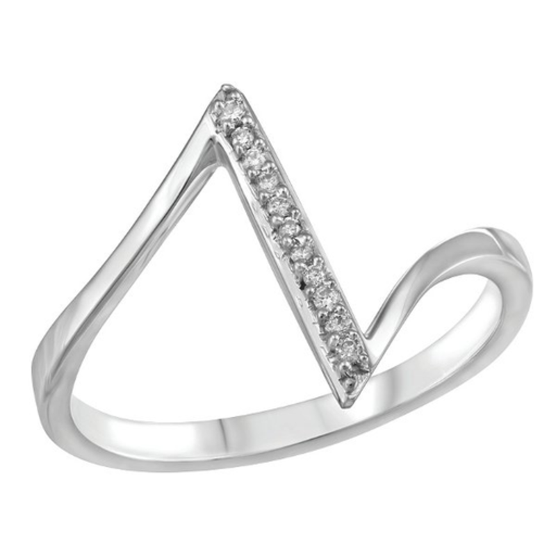 10K White Gold (0.045ct) Diamond Geometric Ring