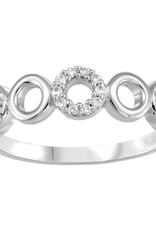 10K White Gold (0.10ct) Diamond Open Circles Ring