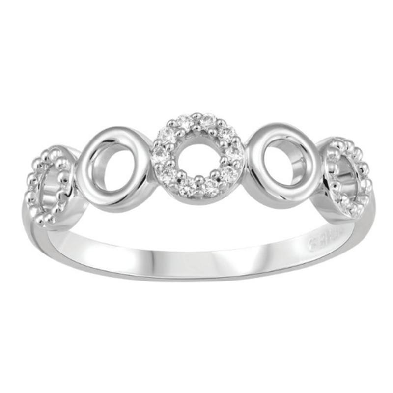 10K White Gold (0.10ct) Diamond Circles Ring