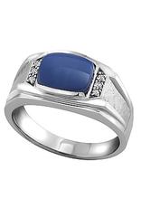 10K White Gold Star Lindy and Diamonds Men's Ring