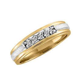 Yellow and White Gold (0.05ct) Diamond Band
