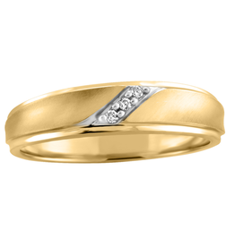 Yellow and White Gold Mens Diamond Band (0.03ct)