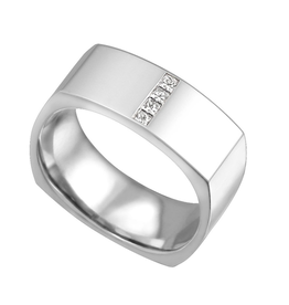 10K White Gold (0.16ct) Diamond Square Mens Ring