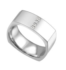 10K White Gold (0.16ct) Princess Cut Diamond Square Mens Ring