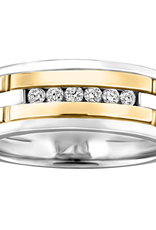 10K White and Yellow Gold (0.18ct) Channel Set Diamond Mens Band
