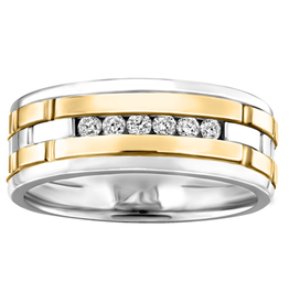 Mens White and Yellow Gold Channel Set Diamond Band (0.18ct)