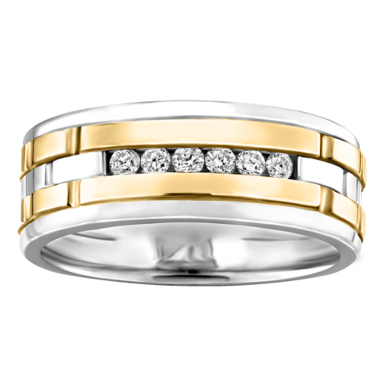 10K Two Tone White and Yellow Gold (0.18ct) Channel Set Diamond Men's Band