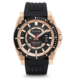 Bulova Bulova Precisionist Mens Watch with Rose Case and Black Strap