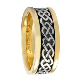 Celtic Link Ladies Two Tone Gold Wedding Band