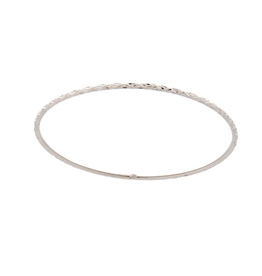 White Gold Diamond Cut Bangle (2mm)