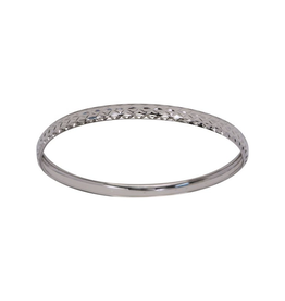 White Gold Diamond Cut Bangle (5mm)
