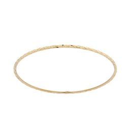 Yellow Gold Diamond Cut Bangle (2mm)