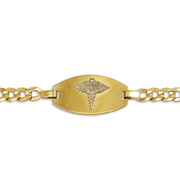 10K Yellow Gold Medical ID Mens (4mm) Curb Bracelet