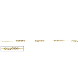 Yellow, White and Rose Gold Beaded Miami Bracelet (4mm)