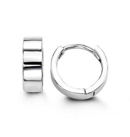 10K White Gold (14mm) Huggie Earrings