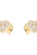 Yellow Gold Cubic Zirconia Heart Baby Earrings