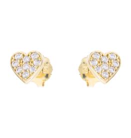 10K Yellow Gold Cubic Zirconia Heart Baby Earrings
