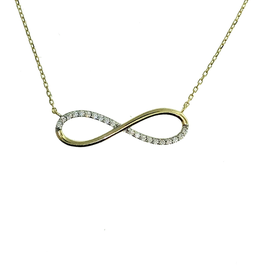 Infinity Cubic Zirconia Yellow Gold Adjustable Necklace