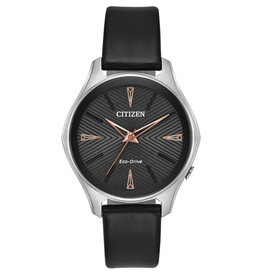 Citizen Modena Ladies Black Dial Watch with Rose Accents