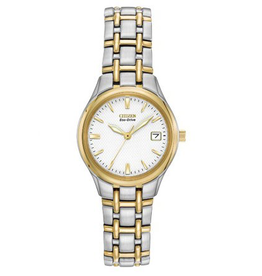 Citizen Two Tone Ladies Watch with White Dial and Date Window