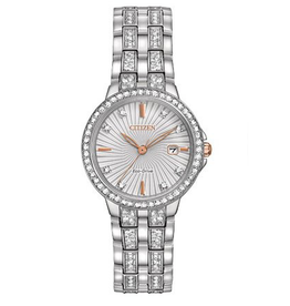 Citizen Ladies Watch with Silver Dial, Rose Accents and Swarovski Crystals