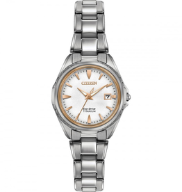 Citizen Titanium Ladies Watch with White Dial and Rose Accents