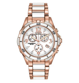 Citizen Citizen Silhouette Diamond Ladies Ceramic Eco Drive Rose Plated Watch