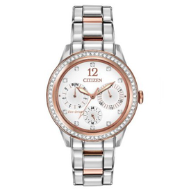 Citizen Two Tone Ladies Watch with White Dial and Crystals