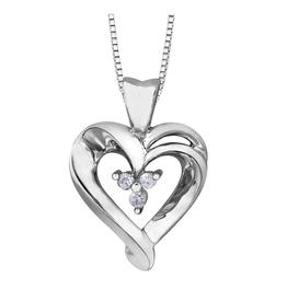 Forever Jewellery 10K White Gold (0.02ct) Diamond Heart Pendant