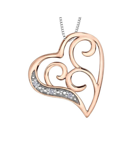 Forever Jewellery Rose & White Gold (0.015cttw) Diamond Heart Pendant